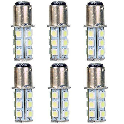 6Pcs 1157 Bay15D 18 Smd 5050 Led Stop Brake Tail Light Bulbs 12V-White