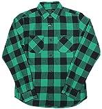 メンズ シャツ 長袖 ブロックチェック ワークシャツ 76802 (38(M), グリーン)