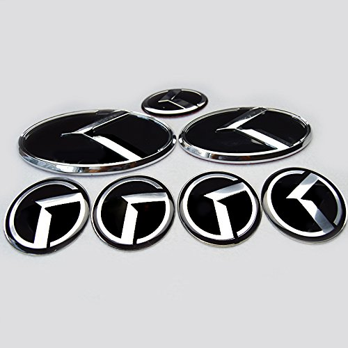 Hanway 7pc FULL SET KIA K Logo Optima K5 3D Emblem black K logo fit KIA OPTIMA K5 /car Wheel Centre Cap Emblem /3D sticker K Logo Hood Trunk Steering (Kia Optima With Rims compare prices)