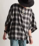 ワイドシルエット ネルチェック ビッグ ポンチョ 半袖 メンズ ドルマン ネルシャツ 丈長 ロング丈 ストリートモード カジュアル 39ホワイト×ブラック
