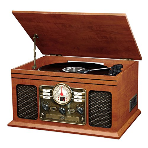 Innovative Technology ITVS-200B Nostalgic Classic 6-In-1 Turntable Wooden Entertainment Center with Bluetooth, Mahogany
