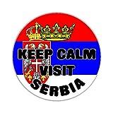 Keep Calm Visit Serbia Flag Car Sticker Sign - Decal Bumper Sign