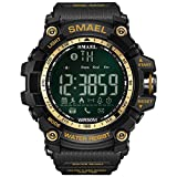 SMAEL Digital LED Display ,Bluetooth Smart with Android and IOS,Waterproof and Electric Alarm,with Running Timer, Multifunctional Sports Watch(Gold) (Color: Gold, Tamaño: 17mm)