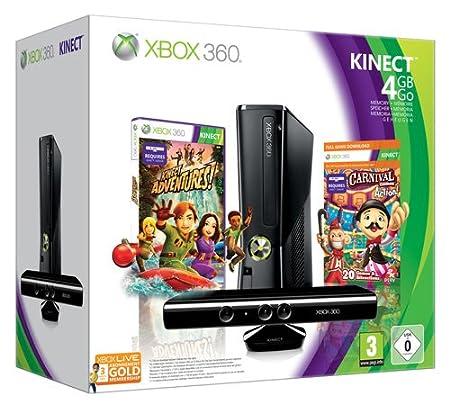 Xbox 360 - Console 4 GB con Sensore Kinect, Abbonamento Xbox Live Gold da 1 mese e 2 giochi [Bundle]