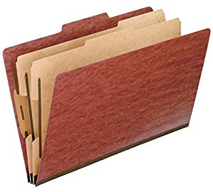 Pendaflex 2257R Pendaflex Pressboard Classification Folders, Legal, 6-Section, Red, 10/Box