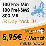 DeutschlandSIM SMART 100 EU [SIM, Micro-SIM und Nano-SIM] monatlich kündbar (300MB Daten-Flat, 100 Frei-Minuten, 100 Frei-SMS, 5x Data Day Pack EU, 5,95 Euro/Monat, 15ct Folgeminutenpreis) O2-Netz