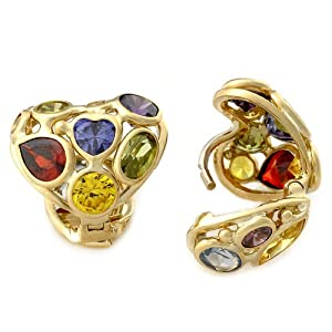 Rainbow 14k Italian Yellow Gold Mosaic Multi Color, Shape and Design Cubic Zirconia Dangling Earrings, Free Shipping and Box. Each Item is Hand Set and Unique in Design. Colors, Shapes and Design May Differ from Image.