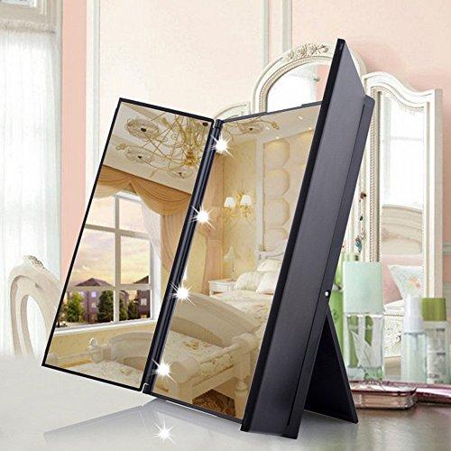 LED Plegable Espejo Cosmético / Espejo de Afeitar / con 8 LEDs Espejo de viajes 3 página/ Portatil Foldable Espejo Cosmético para Maquillaje / Espejo de Maquillaje de Bolso con Luces (Negro)