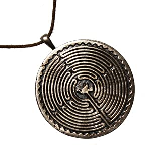 Labyrinth Peace Bronze Pendant Necklace with Peace Dove on Adjustable Natural Fiber Cord