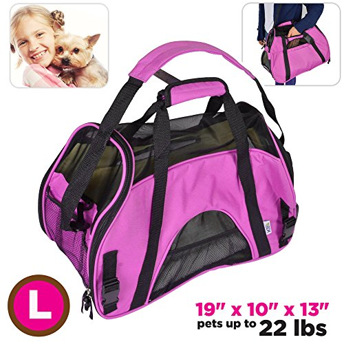 TravelDog Pet Carrier Mesh Ventilation – Soft Washable Fleece Bed – Cat or Dog Tote Travel Bag – Large ( Hot Pink )