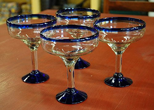 Set Of 4 Handmade Mexican Blue Rimmed Margarita Glasses Recycled Glass 22 24 Oz Home Garden