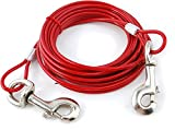 VIP Home Essential 20 Foot Pet Tie Cable Line - Red - Vinyl Coated Aircraft Steel Cable - Ensure Pet Safety While Allowing Complete Freedom