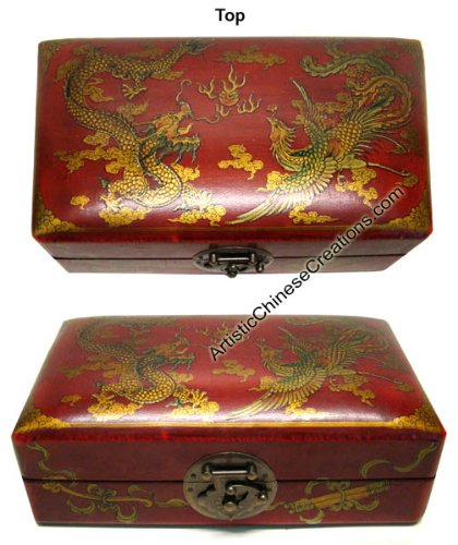 Chinese Clothing & Accessories/ Chinese Gifts / Chinese Wooden Jewelry Box – Dragon & Phoenix