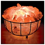 WBM Round Basket Lamp filled with Himalayan Natural Crystal Salt Chuncks