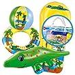 """Beach Set """"Crazy Crock"""" Badeset 4-teilig Schwimmreifen Wasserball Luftmatratze Krokodil"""