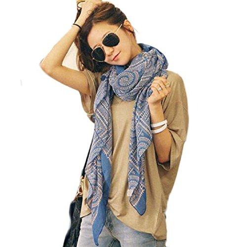 WOCACHI-Damen-Vintage-Lange-weiche-gedruckte-Herbst-und-Winter-Schals-BaumwollPlaid-Kreis-Wrap-Schals-Tcher-Halstcher-Umschlagtcher-Kopftcher-Blau