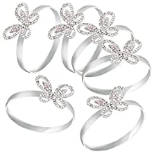 buy Avery Barn 6 Pc Silver Colored Alloy Metal Decorative Napkin Rings Set - Rhinestone Butterflies