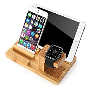 Apple Watch Stand, Bamboo Wood Charge Dock Holder for Apple Watch & Docking Station Cradle Bracket for Ipod Iphone Ipad & Other Phones Tablets SJJ01