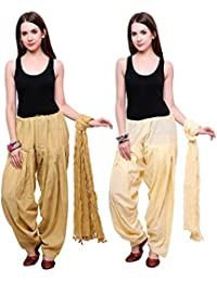 Fashion Store Combo Of 2 Best Indian Pure Cotton Readymade Punjabi Solid Patiala Salwar Matching Dupatta Set