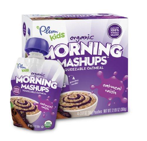 Plum Kids Organic Morning Mashups Oatmeal Raisin 4 Count Pack of 6
