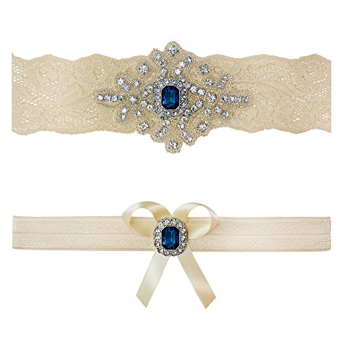 Ivory Sapphire Blue Wedding Bridal Garter Set Keepsake Toss (Medium (18
