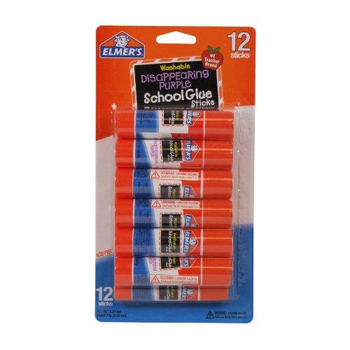 Elmer's Disappearing Purple School Glue Sticks, 0.21 oz Each, 12 Sticks per Pack (E1559)