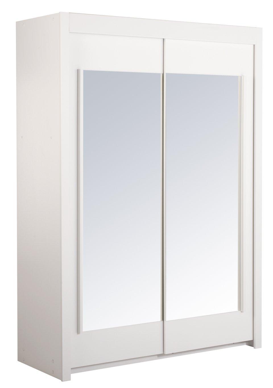 Kleiderschrank Schwebetürenschrank Spiegel Annabelle – Weiß