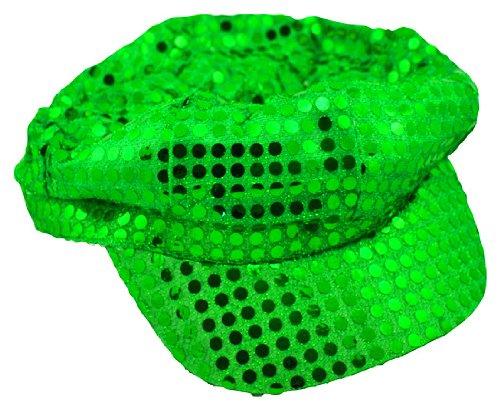 Lime Sequin Newsboy Diva Hat