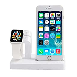 Abusun 2 in 1 Apple Watch Stand Dock iPhone Charging Stand Holder Display Cradle for Apple iWatch/ iPhone 6 / 6 Plus/ 5s/ 5 (White)
