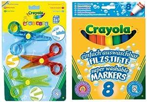 Crayola 10962 - 3 Kinder-Scheren und 8 einfach auswaschbare Filzstifte