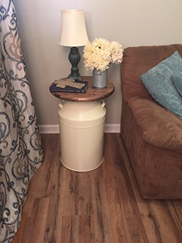 Milk Can end table, wood end table, cream milk can, end table, rustic end table, rustic table, round end table (Milk Can Table compare prices)