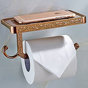 Rose gold thinktop antique carving toilet roll paper for Rose gold bathroom decor