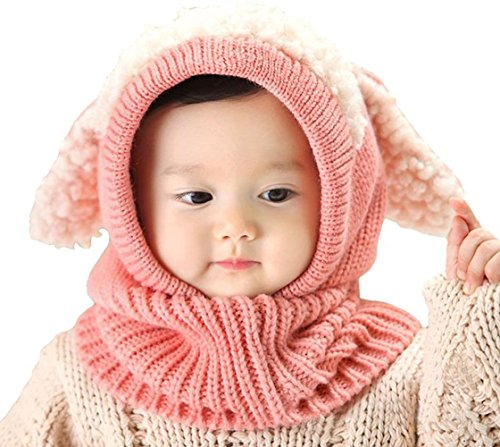 Lanzom Baby Girls Boys Winter Hat Skull Caps Scarf Earflap Hood Scarves (Pink)