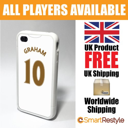 Swansea City Personalised Shirt Style Football Phone Cover / Case for iPhone 4/4s, Graham - Premium Case with Bumper Surround (Black or White Bumper Available)