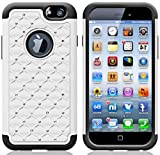 myLife Sleek White + Brunet Black {Rugged Bling Design} 2 Layer Hybrid Case for the NEW iPhone 6 (6G) 6th Generation Phone by Apple, 4.7