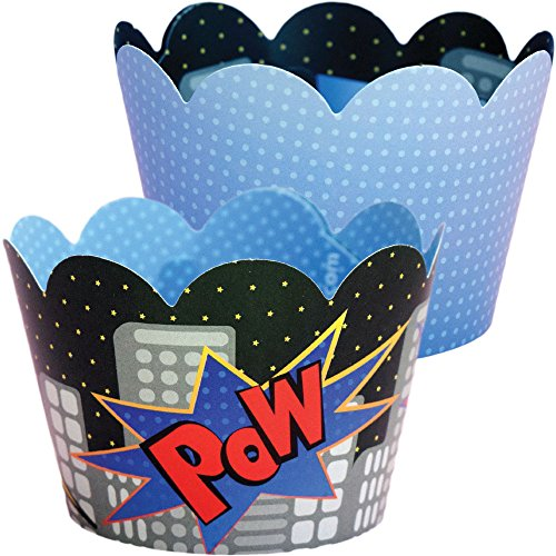 Superhero Party Supplies, Comic Book Royal Blue Cupcake Wrapper Decorations, Confetti Couture Party Supplies, 36 Wraps (Baking Party Theme compare prices)