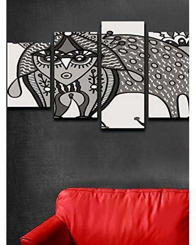 Thuis Mania canvas foto Canvas set van 5 wit / grijs