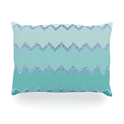"Kess Inhouse Monika Strigel ""Avalon Mint Ombre"" Aqua Green Oblong Rectangle Outdoor Throw Pillow, 14 By 20-Inch front-973077"