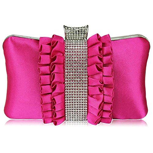 Womens Clutch Bags Ladies Faux Leather Satin Hard Case Clutch Box Bag