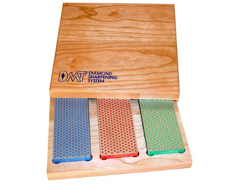 DMT W6EFC Three 6-Inch Diamond Whetstone Models in Hard Wood Box