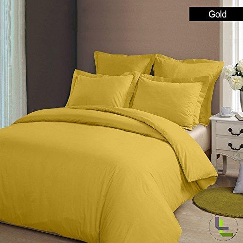500TC 100% cotone egiziano, finitura elegante Set copripiumino, 5 pezzi, Cotone, Gold Solid, UK_Super_King