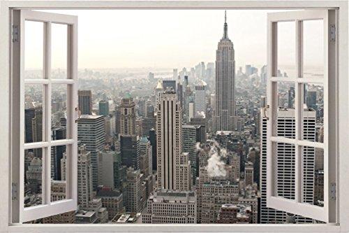 ニューヨーク シーティ 都会 景色 自宅 会社 キッチン 子供部屋 キッツ ギフト 3D 独特 ユニーク 窓 奥行 おしゃれ ビニール樹脂 印刷 取り外しのきく 壁 ステッカー ウォールステッカー サイズ 85.09 × 119.38 cm