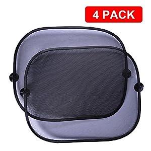 Coche Parasol pour Bébé, Mudder Vehicle Ventanas Laterales Toldos (4 Pack) con Palillo de Ventosas para Car Protección UV - Fácil Pegarse y Quitar