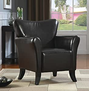 Monarch Specialties Leather-Look Accent Chair, Dark Brown