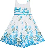 EY71 Sunny Fashion Little Girls' Dress Blue Flower Double Bow Tie Summer Camp 4-5