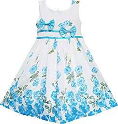 EY71 Sunny Fashion Little Girls\' Dress Blue Flower Double Bow Tie Summer Camp 4-5
