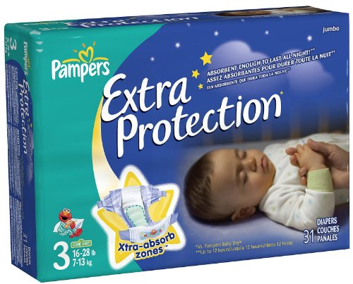 Pampers Extra Protection Overnight Jumbo Pack case of 4 -- size: 3
