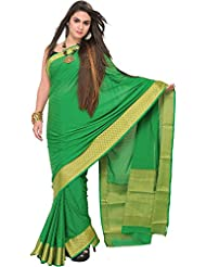Exotic India Fern-Green Handloom Saree From Bangalore With Self-Weave An - Green