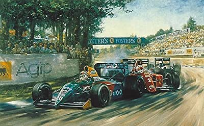 Fighting Finish- Formula One Racing Print Autographed By Piquet and Barnhard