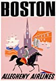 TX70 Vintage 1950's Boston USA Travel Airlines Airways America Poster Re-Print - A4 (297 x 210mm) 11.7
